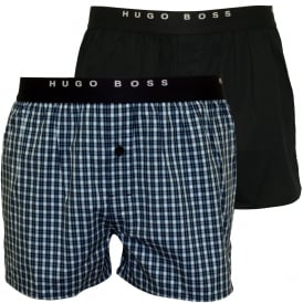 2-Pack Check & Stripe Boxer Shorts, Blue/Navy