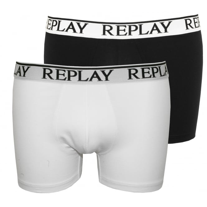 Replay 2-Pack Classic Logo Boxer Trunks, Black/White