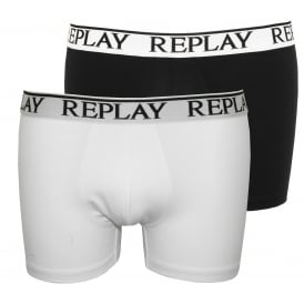 2-Pack Classic Logo Boxer Trunks, Black/White