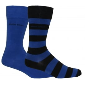 2-Pack Combed Cotton Socks, Stripe & Solid Blue