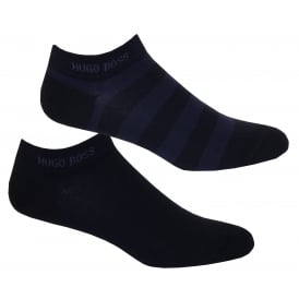 2-Pack Combed Cotton Stripe Trainer Socks, Navy/blue