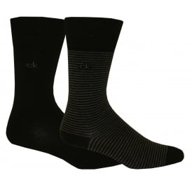 2-Pack Fine Stripe Flat-Knit Socks, Black