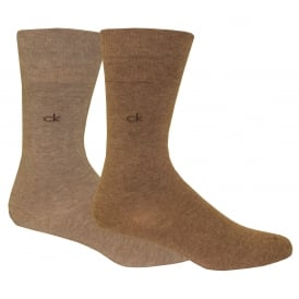 2-Pack Flat-Knit Socks, Brown/Beige