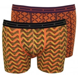 2-Pack Geometric & Feathers Print Boxer Briefs Gift Set, Purple/Navy