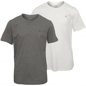 2-Pack Icon Cotton Crew-Neck Boys T-Shirts, White / Grey Heather