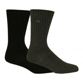 2-Pack Ribbed Cotton Boot Socks, Charcoal/Black
