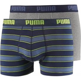 2-Pack Rugby Stripe Yarn-Dyed Boxer Briefs, Blue/Grey