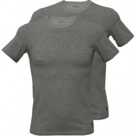 2-Pack Short-Sleeve Crew-Neck T-Shirts, Heather Grey with Navy