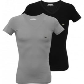 2-Pack Stretch Cotton V-Neck T-Shirts, Black/Grey