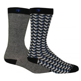2-Pack Yarn-Dyed Patterned Socks, Navy/Blue