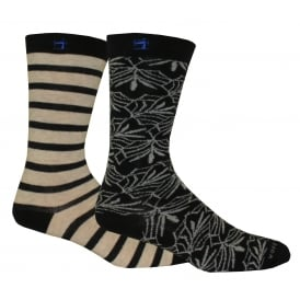 2-Pack Yarn-Dyed Patterned Socks, Navy/White