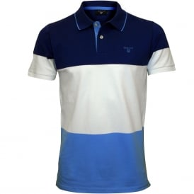 3-Colour Stripe Pique Rugger Polo Shirt, Yale Blue