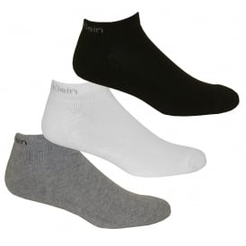 3-Pack Bamboo Cotton Trainer Socks, Black/White/Grey