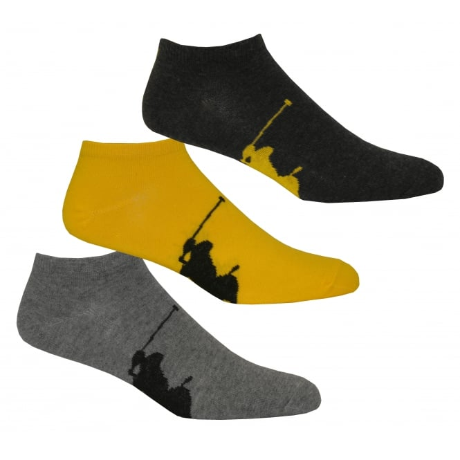 Polo Ralph Lauren 3-Pack Big Polo Player Trainer Socks, Charcoal/Yellow/Grey