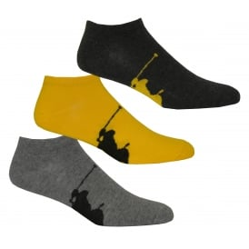 3-Pack Big Polo Player Trainer Socks, Charcoal/Yellow/Grey