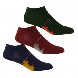 3-Pack Big Polo Player Trainer Socks, Navy/Blue/Burgundy