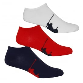 3-Pack Big Polo Player Trainer Socks, Red/White/Black