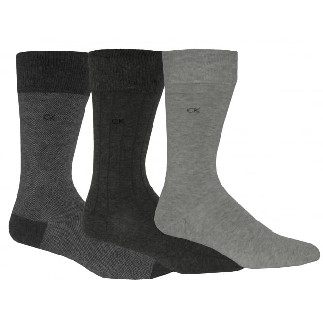 Calvin Klein 3-Pack Birdseye/Solid/Ribbed Socks, Assorted Greys