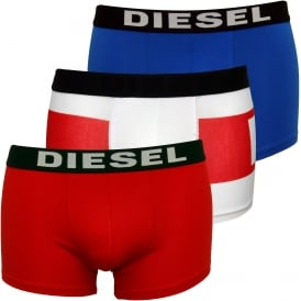 3-Pack Block Logo Boxer Trunks, Red/White/Blue