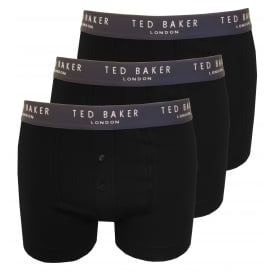 3-Pack Button-Fly Boxer Briefs, Black