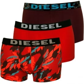 3-Pack Camo, Floral Flames & Solid Boxer Trunks, Burgundy/Red