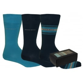 3-Pack Combed Cotton Socks Gift Set, Bright Blue Combination