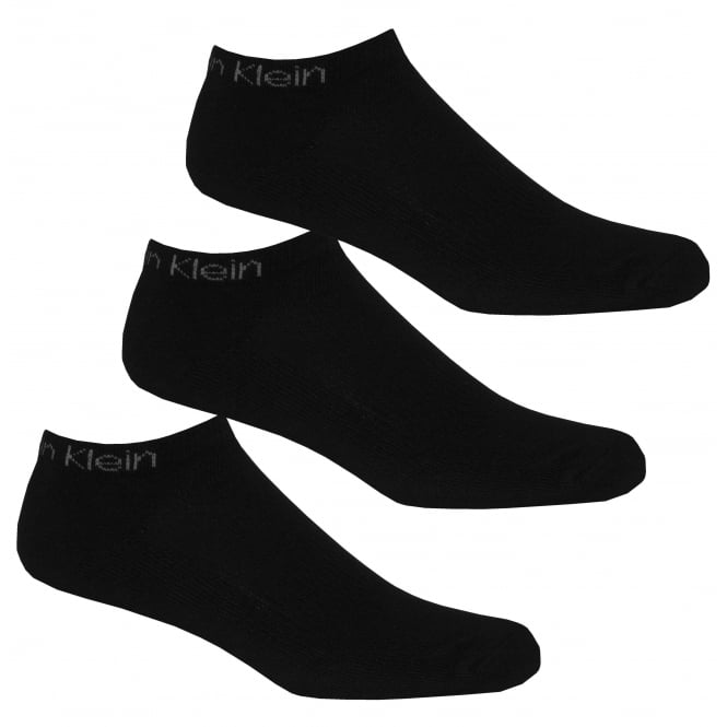 Calvin Klein 3-Pack Coolmax Cotton Cushioned Trainer Socks, Black
