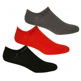 3-Pack Coolmax Cotton Trainer Socks, Red/Grey/Black