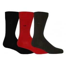 3-Pack Flat Knit Socks, Red/Grey/Black