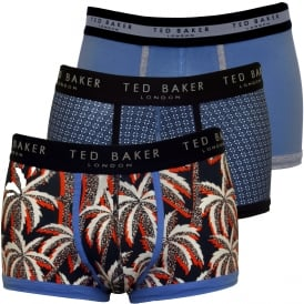 3-Pack Geo, Plain & Palms Boxer Trunks, Blue/navy