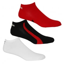3-Pack Lifestyle Trainer Socks, Black/White/Red