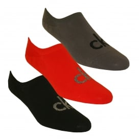3-Pack Logo Liner Socks, Red/Grey/Black