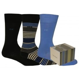3-Pack Multi-Stripe Combed Cotton Socks Gift Box, Blue/Navy