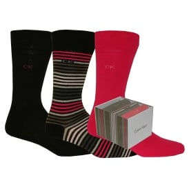 3-Pack Multi-Stripe Combed Cotton Socks Gift Box, Plum/Pink/Black