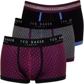 3-Pack Plain & Geo Prints Boxer Trunks, Blue/Burgundy