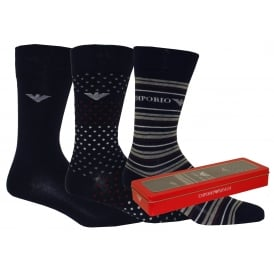 3-Pack Plain/Stripes/Spots Socks Gift Set, Navy mix