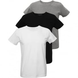 3-Pack Premium Crew-Neck T-Shirts, Black/White/Grey