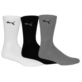 3-Pack Sports Crew Socks, Black/White/Grey