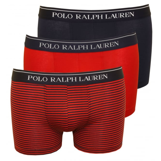 Polo Ralph Lauren 3-Pack Striped/Solid Boxer Trunks, Red/Navy