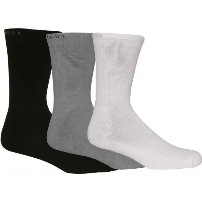 Calvin Klein 3-Pack Ultimate Coolmax Athletic Socks, Grey/White/Black