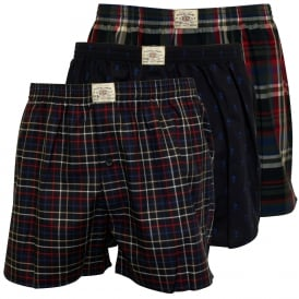 3-Pack Woven Boxer Shorts, Navy/Blue/Red/Check