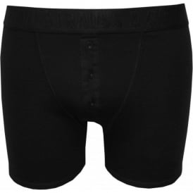 300sf Ribbed Button-Fly Boxer Brief, Black