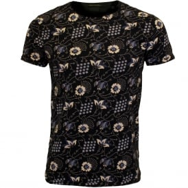 Allover Floral Print Crew-Neck T-Shirt, Navy