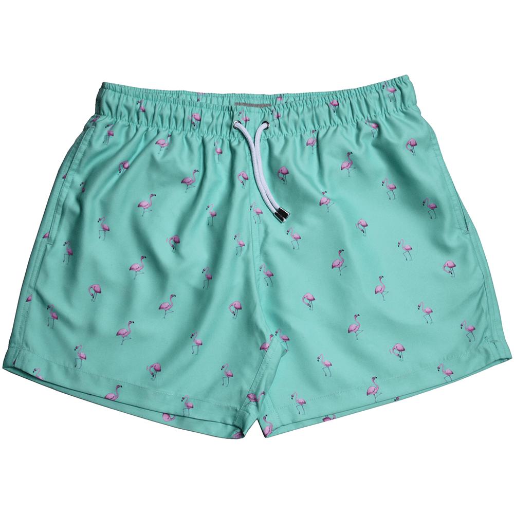 3419d3a581 Apres Pink Flamingos Swim Shorts, Green | Apres swim short | UnderU