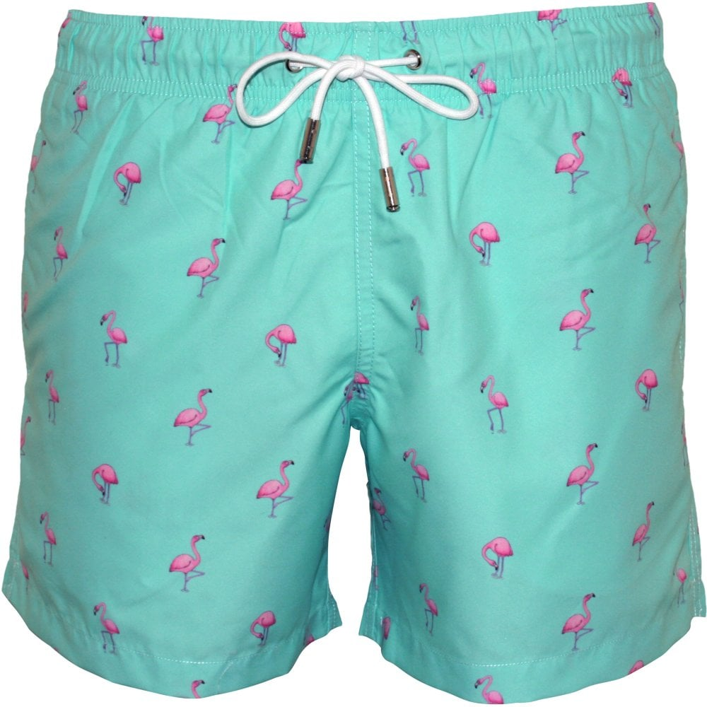 ae2a2162b3 Apres Pink Flamingos Swim Shorts, Green | Apres swim short | UnderU
