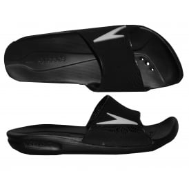 Atami II Max Pool Slider Sandals, Black with white