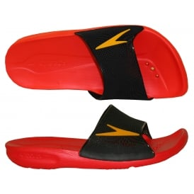 Atami II Max Pool Slider Sandals, Lava Red / Black