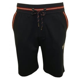 Authentic Zip Tracksuit Shorts, Navy w/red stripes