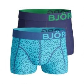 2-Pack Bachelor Button Print & Solid Boxer Trunks, Blue