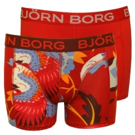 2-Pack Dragon Bird Print Boys Boxer Trunks Gift Set, Red